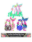 Mermaid Pattern Monogram Decal