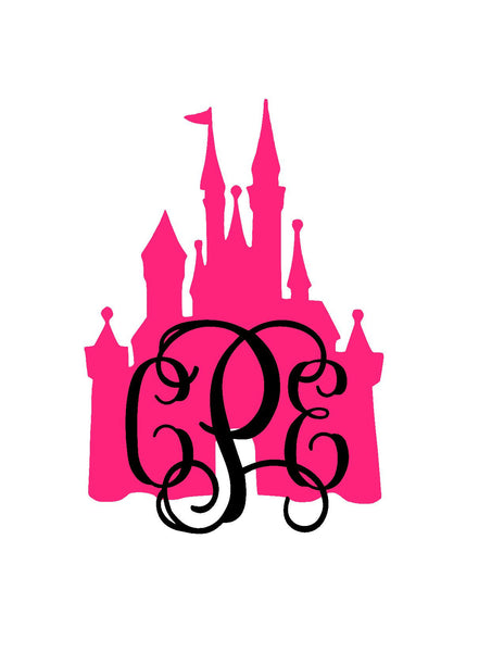 Castle Monogram Decal | Princess Monogram Decal | Car Decal | Cup Decal | Queen Decal | Crown Monogram