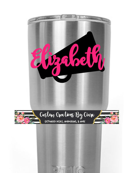 Cheerleader Name Monogram Decal, Cheer Megaphone Bow Decal, Cheer Yeti Decal,