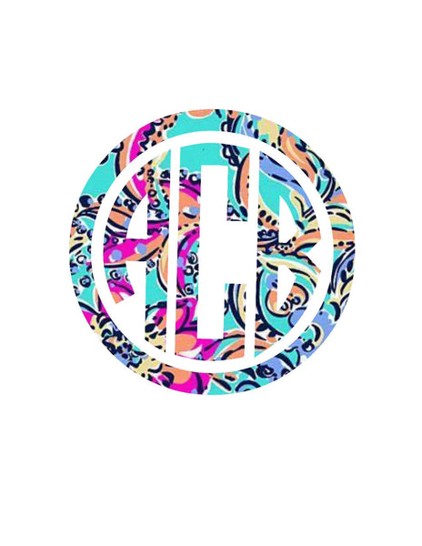 Circle Pattern Monogram Decal | Lilly Inspired Decal Monogram
