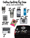 Monogram Intial Decal with Heart, Simple Monogram, Cursive monogram, monogram decal, car decal , cup monogram