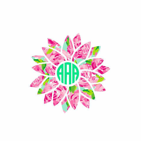 Lilly Pulitzer Inspired Sunflower Monogram Decal