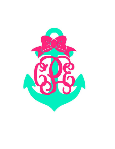 Anchor Monogram Decal - Beach - Custom Monogram - Two Color - Perfect for Yeti, Jeep, Car, Laptop, and More! Anchor With Bow | Anchor |