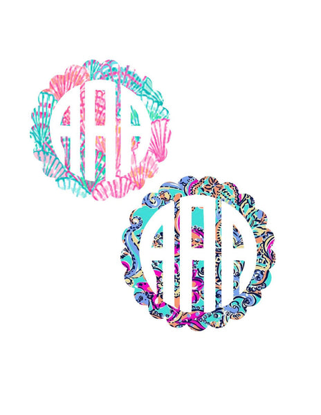 Scallop Lilly Pulitzer Monogram Decal | Lilly Inspired Decal Monogram | Ozark Rtic | Car Decal  Lilly Pulitzer | Yeti decal Custom Decal