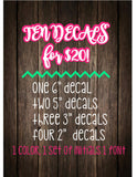 Set of 10 Monogram Decals - Customize ANYTHING - Summer Sale - Monogram Set - Yeti Decals - One Color - One Set of Initials