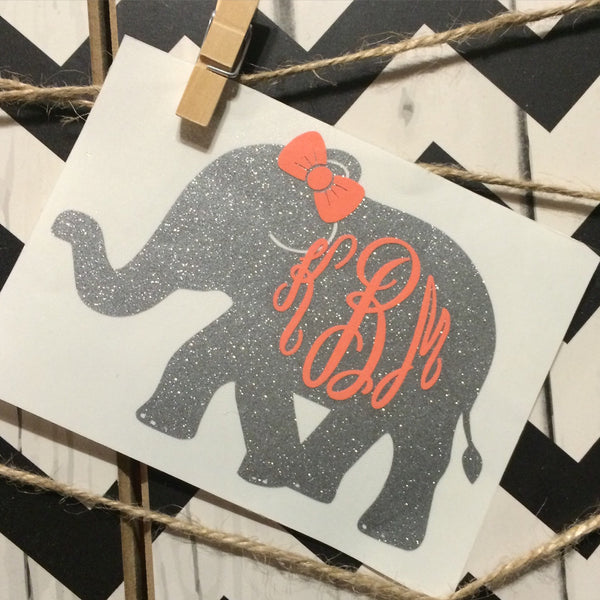 Elephant with Bow Monogram - Preppy - Elephant Monogram - Elephant Sticker - Perfect for Yeti, Rtic, Jeep, Binder, Car and Much More!