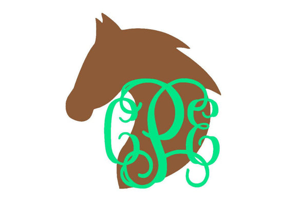 Horse Head Monogram Decal - Rider Decal - Horse Decal - Yeti Decal - Custom Decal - Monogram Car Decal - Pony - Horse Lover - Glitter