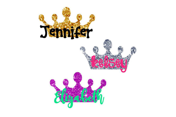 Crown Monogram - Crown Name Decal - Glitter Yeti Decal - Glitter Crown Decal - Custom Decal - Monogram Crown - Name with Crown