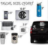 Monogram decal - Frame Bow Decal - Pearls Bow Monogram - Car decal - Vinyl decal -Yeti decal - Planner decal - Monogram Sticker - Name Decal