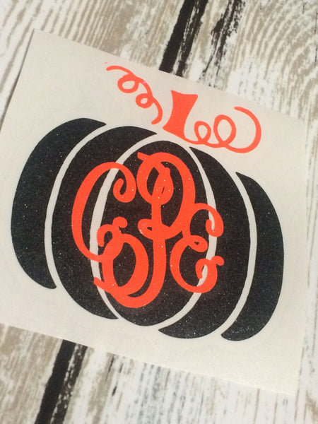 Pumpkin Monogram Vinyl Decal - Vinyl Decal - Pumpkin Monogram - Halloween Decal - Fall Monogram - Pumpkin - Yeti Decal - Laptop Decal