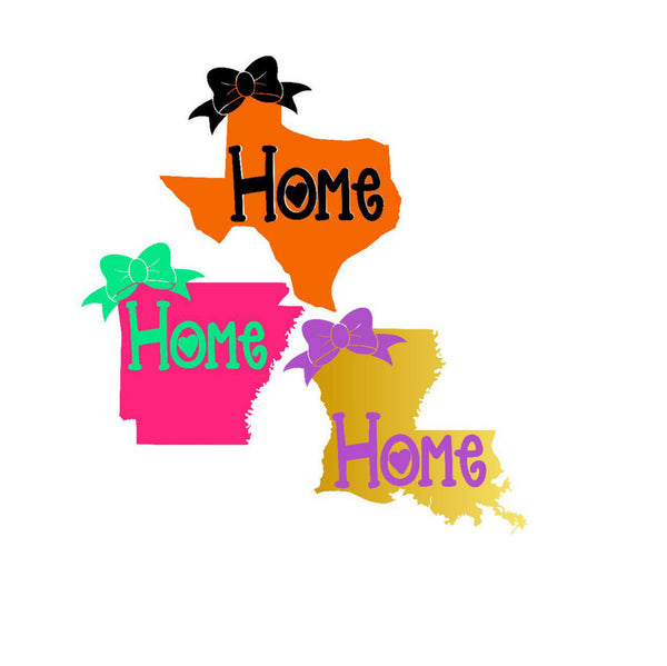 State Bow Home Decal, State Car Decal, State Pride Decal, Home State Sticker, Any Color, Any State, Texas Decal, Louisiana Decal