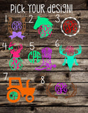 Country Monogram Decal | Southern Monogram Decal | Deer Monogram Decal | Boot Monogram Decal | Tractor Monogram Decal | Barbwire Monogram