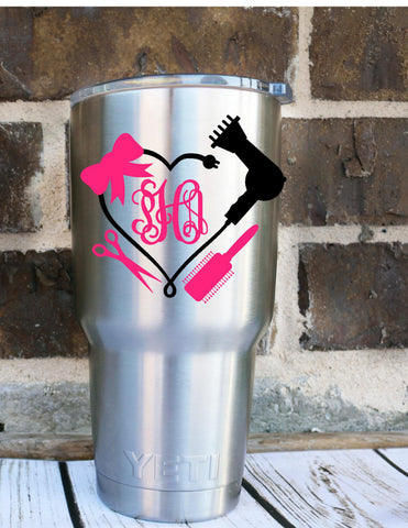 Blowdryer Monogram Decal - Hairstylist Decal - Cosmotology Decal - Beauty Decal - Monogram Decal - Mirror Decal - Car Decal - Vinyl Decal