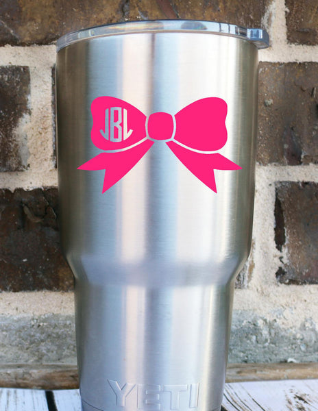 Bow Monogram Decal, Monogram Sticker, Vinyl Monogram Decal, Car Monogram, Preppt Monogram, Personalized Sticker Decal