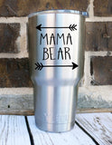 Mama Bear Decal - One Color Or Two - Perfect for Yeti, Cars, Wine Glass, Laptop, Planner and More!