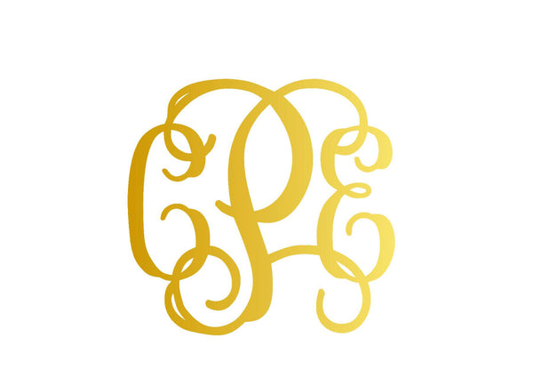 Gold Foil Mirror Custom Vinyl Monogram for Car, Laptop, Yetis And Much More - Car Decal  - Monogram Yeti - Monogram Sticker - Gold