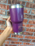 Purple Glitter Tumbler 30 oz - Powdercoated Tumbler - Powder Coated Monogram Tumbler - YETI DUPE - Unbranded - Glitter Monogram