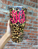Stainless Cheetah Tumbler, Leopard Tumbler, 30oz Colored Tumbler, Monogram Tumbler, Custom Cup, Monogram Gift, Cheetah Monogram