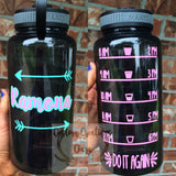 Monogram Name Custom 32 oz Water Bottle | Daily Motivation | Funny - Workout - Motivation - Fitness - Exercise - Water Tracker - Arrow