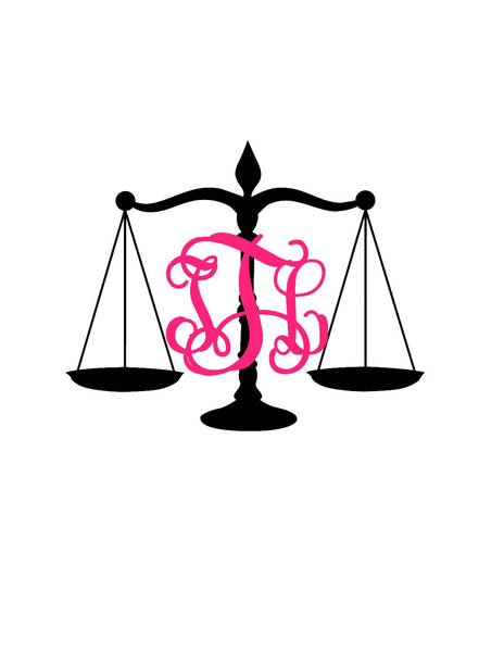 Justice Scales Monogram Decal - Law - Scales Monogram - Attorney Monogram - Yeti Decal - Custom Decal