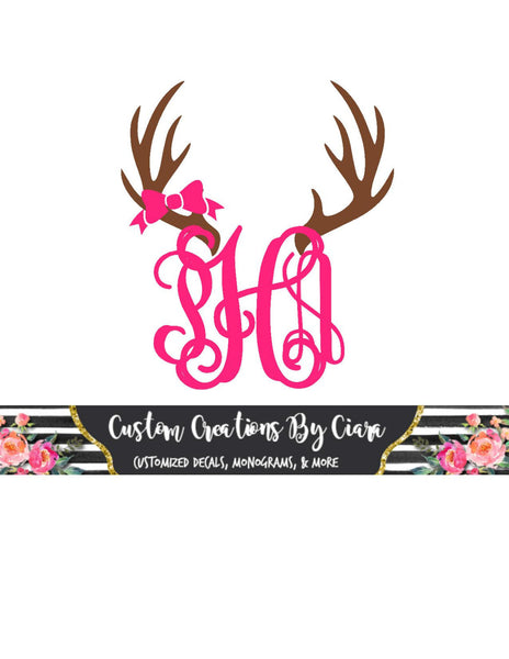 Bow Deer Monogram Decal, Monogram Car Decal, Monogram Decal, Yeti Monogram, Custom Monogram , Hunting monogram , Gun Monogram, Yeti Deer