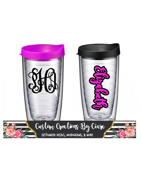 Personalized Acrylic Tumbler, Monogrammed Tumbler, Tervis Style , Double Walled Tumbler - Perfect Gift! Great for Beach!