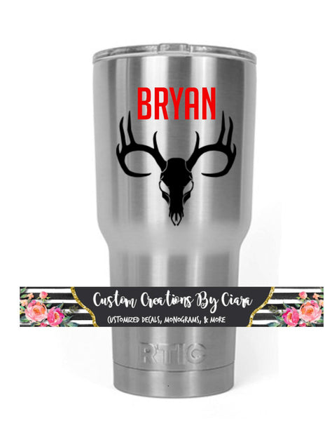 Fishing, Hunting, Country Decal for Yeti, Car, RTIC, Truck, Laptop and More! Manly Monogram, Deer Skull