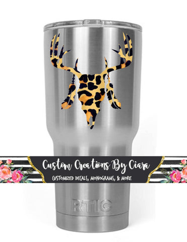 Cheetah Deer Skull Decal - Tribal Decal - Country Boho - Cheetah Cup Decal - Cow Skull Decal - Deer Decal - Car Decal Cheetah - Feather