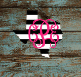 Monogram Striped State Home Decal |  Pattern Any State | Sticker |  Car Decal,  Yeti Decal Custom Decal - Texas Louisiana and  More!