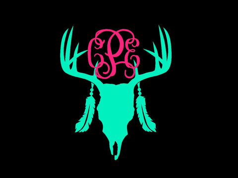Deer Skull Decal Monogram - Boho Monogram - Skull Monogram - Antler Horn Decal - Country Decal - Monogram Yeti - Monogram Car Decal -