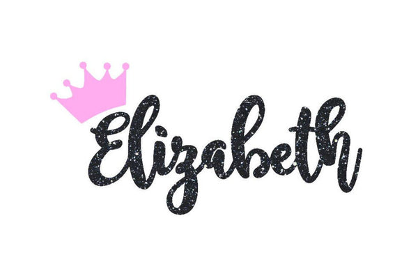 Princess Crown Monogram Name Decal for Yeti's, Cars, Laptops, and Much More!! Any Color - Any Size - Glitter - Name Sticker - Princess -