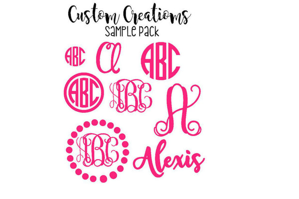 Monogram Decal Pack - Combo Pack - Monogram Value Pack - Sample Pack - Save - Monogram Sale