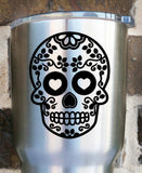 Sugar Skull Decal - Sugar Skull Sticker - Day of the Dead - Yeti Decal - One Color Decal - Skull Decal - Halloween - Fall - Skeleton