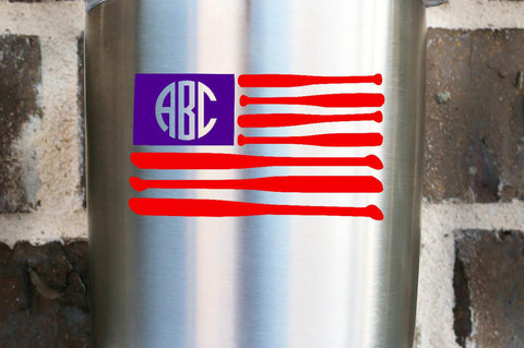 American Flag Baseball Monogram Name Decal , Bat Flag, Baseball Decal, Helmet Decal, Car Decal , Yeti Decal , Softball Player