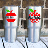 Apple Name Decal - Teacher Apple Decal - Teacher Monogram - Back to School Gift - Split Apple Name Decal - Polka Dot Apple Decal - Teacher