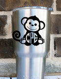 Monkey Monogram Decal - Monkey - Cute Decal - Perfect for Yeti , Car , RTIC , Jeep , Clipboard , Phone , and More!! - Any Size - Any Color