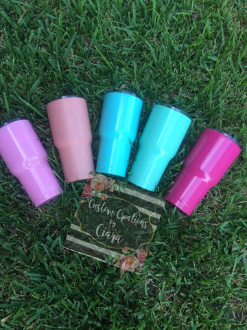 30 oz Unbranded Powdercoated Tumbler, Add a Monogram for FREE!, 30oz Dupe Tumbler , Stainless Steel , Hot Pink Tumbler, Coral Tumbler Cup