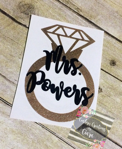 Mrs. Name Decal With Diamond Ring | Monogram Decal | Personalized Wedding Gift | Wife | Marriage | Diamond Ring | Bride To Be | Bridal
