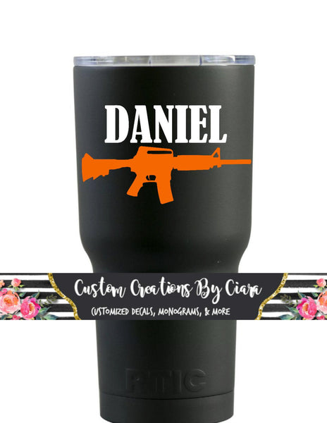 Custom Name Gun Decal, Name Manly Gun Decal, Fathers Gift, Manly Monogram, Gun Sticker, Hunting Decal,