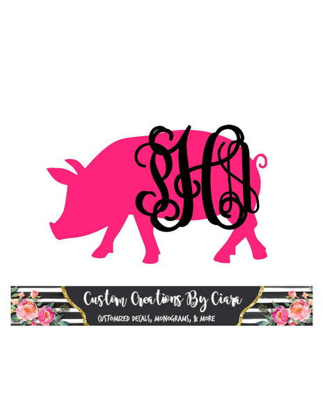 Pig Monogram Decal |  Farm monogram decal | show pig monogram decal | Piggy Monogram | Pig Car Decal | Vinyl Monogram | Farm Monogram