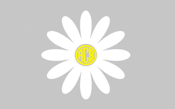Flower Monogram Decal - Daisy - Sunflower - Any Size - Any Color - Monogram Sticker - Perfect for Yeti, Car, and SO Much More!!