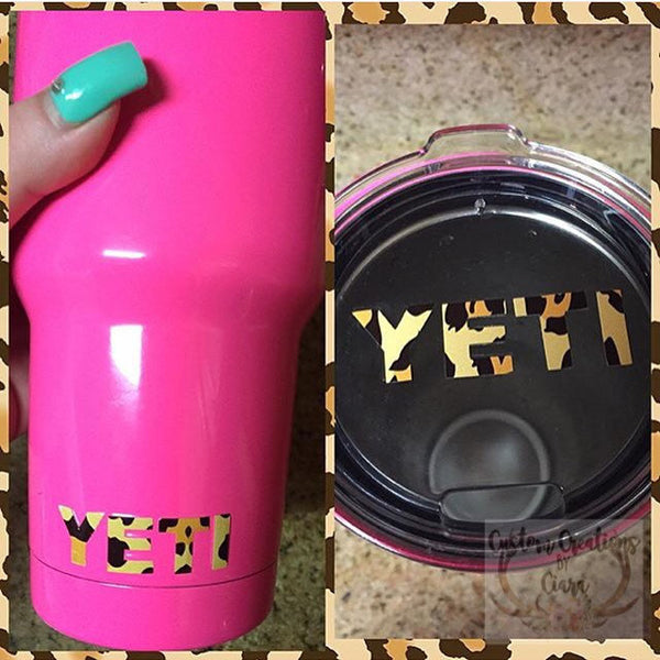 Cheetah Yeti Lid Decal Yeti Logo for Rambler and Tumbler - Any Color - Glitter - 30oz - 20oz - Pattern - Leopard