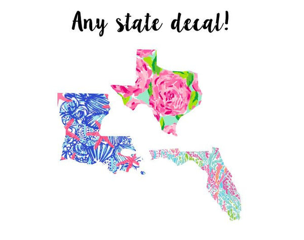 Lilly Pulitzer State Decal with Heart, Lilly Inspired Decal Any State,  Pulitzer Decal,  Car decal, Lilly Pulitzer Yeti decal Custom Decal