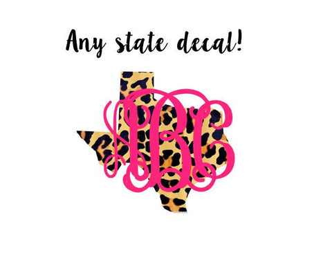 Big Monogram Cheetah State Home Decal Leopard Pattern Any State, Sticker,  Car Decal,  Yeti Decal Custom Decal - Texas Louisiana and More!