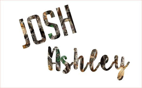 Camo Name Decal - Tree Print - Any Size - Pattern - Country - Custom Decal - Perfect for Yeti , Rtic, Jeep, and MORE! Camoflauge