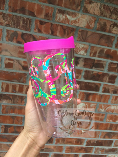 Lilly Pulitzer Personalized Acrylic Tumbler, Monogrammed Tumbler, Tervis Style , Double Walled Tumbler - Perfect Gift! Great for Beach!