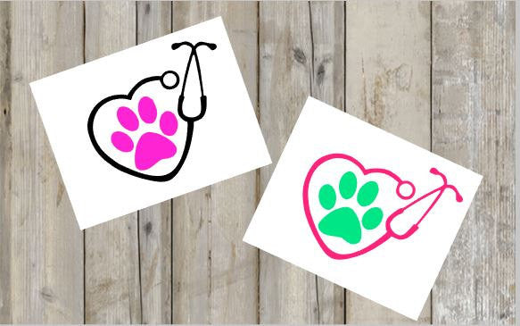Stethoscope Decal, Monogram Stethoscope Decal, Vet Tech Decal, Vet Decal, Stethoscope Paw Decal - Perfect of Yeti , Car , Phone and More!