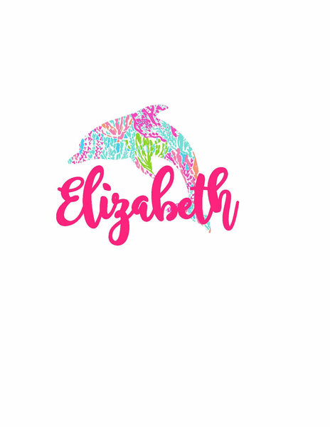Lilly Pulitzer Inspired Dolphin Monogram Name Decal