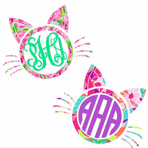 Cat Pattern Monogram Decal