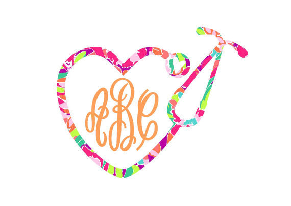 Lilly Pulitzer Inspired Heart Stethoscope Monogram Decal